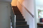1/2″ Glass hand rail with polish stainless Steel finish